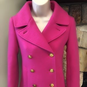 J. CREW MAJESTY PEA COAT 0P *RARE VIBRANT BERRY